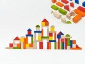 Teddies Kostky stavebnice dřevo + vkládačka - 100 ks