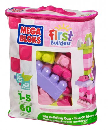 Mattel Stavebnice Mega Bloks - Kostky v plastovém pytli - růžová barva