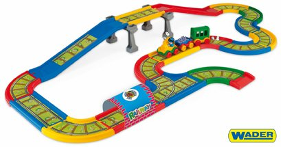 WADER Kid Cars - Železnice s městem 4,1 m v krabici