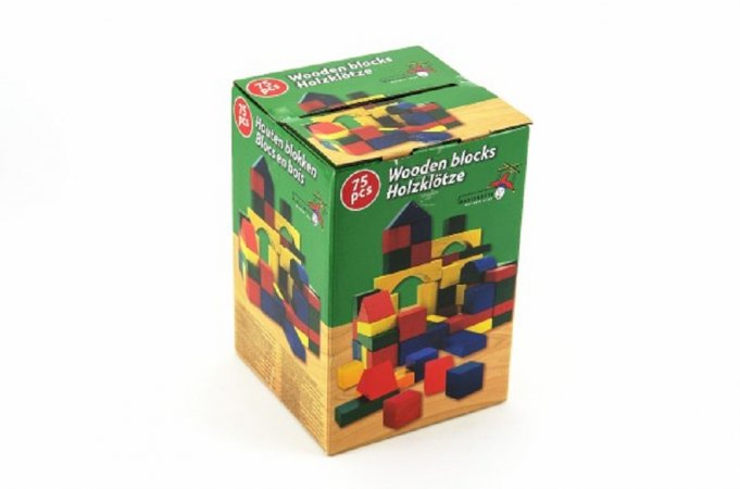Teddies Kostky dřevo barevné - 75 ks