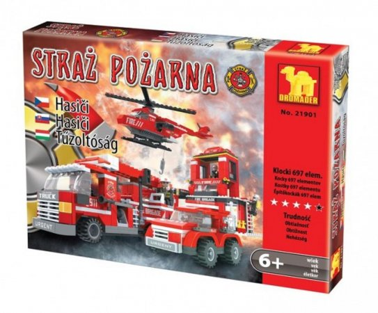 Dromader Stavebnice Hasiči, auto, vrtulník a stanice - 697 ks