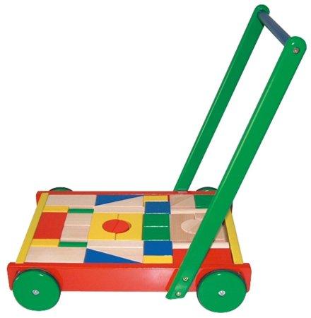 HM STUDIO Dřevěný velký vozík s kostkami