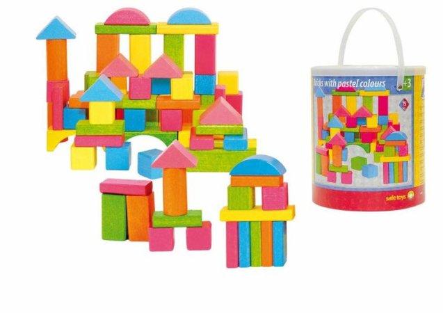 Woody Stavebnice kostky barevné pastelové - 75 dílů