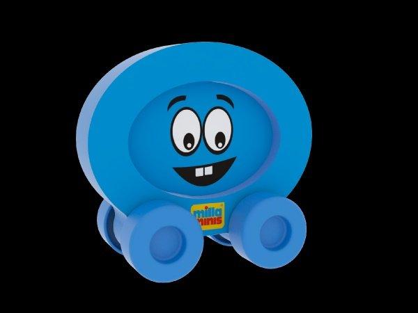Millaminis Moje první autíčko - Obličeje - Smajlík modrý