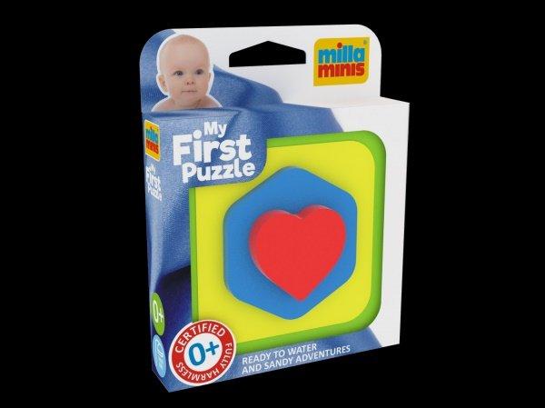Millaminis Moje první puzzle - Tvary - vkládačka Čtverec srdce