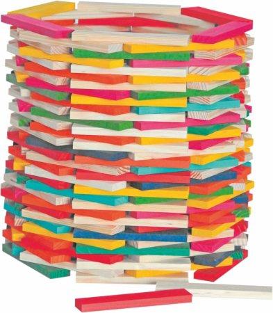 Woody Stavebnice Simona přírodní/barevná - 200 ks