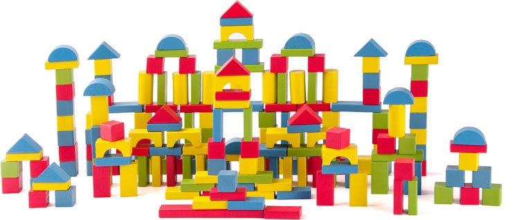 Woody Kostky přírodní/barevné - 200 ks