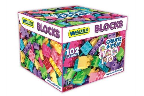 WADER Kostky stavebnice pro holky - 102 ks v papírové krabici