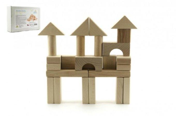 Teddies Kostky dřevěné přírodní - 50 ks