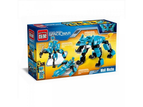 Enlighten Brick Stavebnice 3v1 - Vlk/Robot/Vesmírná loď - 211 dílů