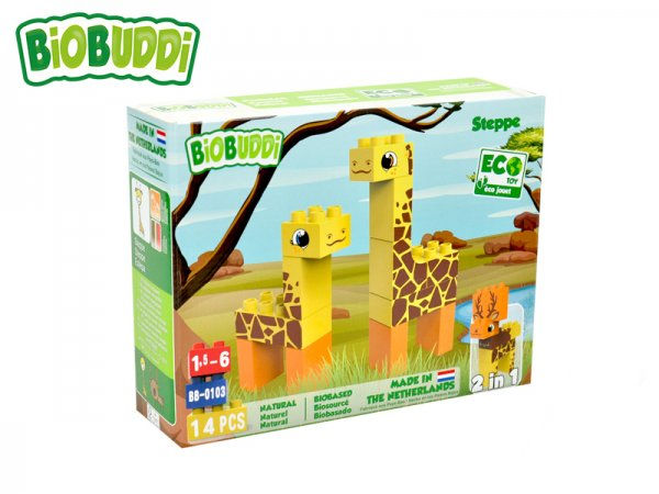 BiOBUDDi Stavebnice Wildlife Steppe 2v1 - Žirafa/Jelen