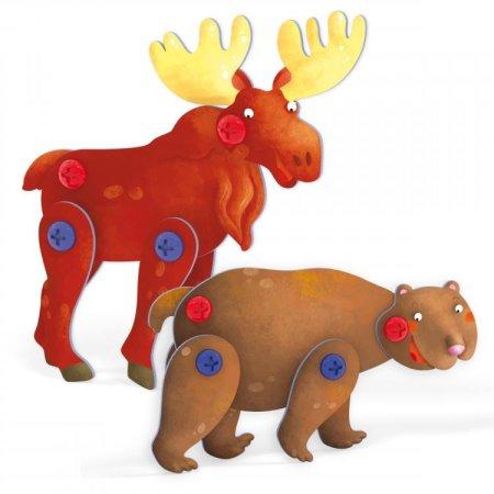 Quercetti Tecno Puzzle 3D - medvěd a los