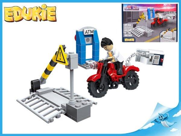 Edukie stavebnice - Přejezd se závorou a motorkou - 69 ks