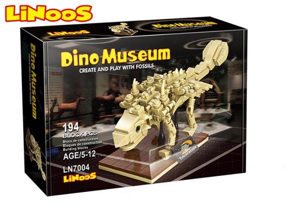 Mikro trading LiNooS stavebnice Dino Museum - Skelet dinosaurus Ankylosaurus - 194 ks