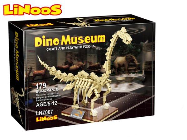 Mikro trading LiNooS stavebnice Dino Museum - Skelet dinosaurus Brachiosaurus - 179 ks