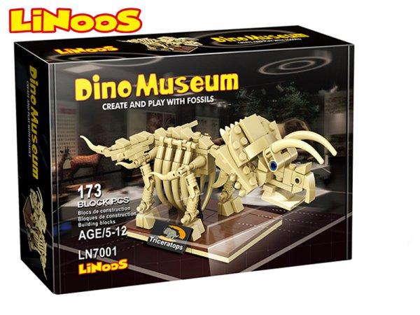 Mikro trading LiNooS stavebnice Dino Museum - Skelet dinosaurus Triceratops - 173 ks