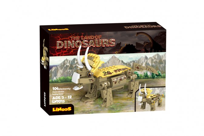 Mikro trading LiNooS stavebnice Dinosaurs - dinosaurus Triceratops - 104 ks