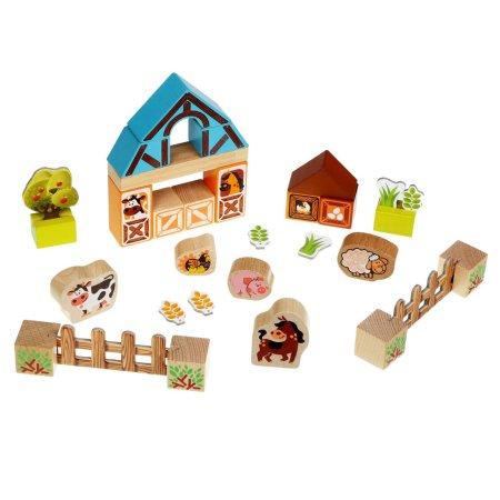 CUBIKA Farma - dřevěná stavebnice s kartonovými doplňky