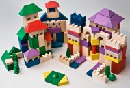 EkoToys Dřevěné kostky barevné - 200 ks XL